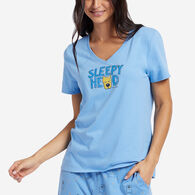 Life is Good Women's Dog Sleepy Head Short-Sleeve Sleep Vee T-Shirt