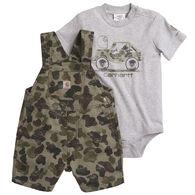 Carhartt Toddler Boy's Camo Short-Sleeve Shortall Overall Set
