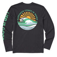 Life is Good Men's Happiness Comes In Waves Crusher Long-Sleeve T-Shirt