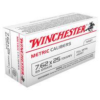 Winchester USA 7.62x25 Tokarev 85 Grain Metric Caliber FMJ Handgun Ammo (50)