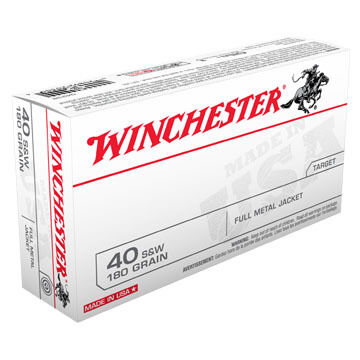 Winchester USA 40 S&W 180 Grain FMJ Handgun Ammo (50)