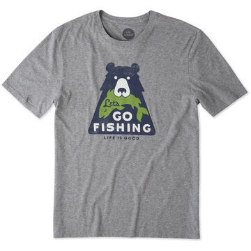 Life is Good Mens Lets Go Fishing Bear Smooth Short-Sleeve T-Shirt