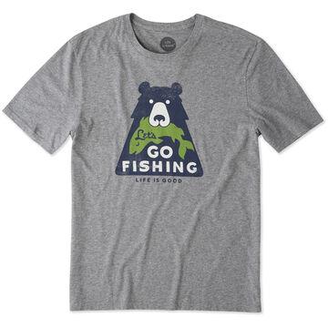 Life is Good Mens Lets Go Fishing Bear Smooth Short-Sleeve T-Shirt