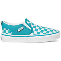 Vans Girls' Asher Canvas Checkerboard Slip-On Shoe
