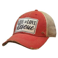 Vintage Life Women's Live Love Rescue Distressed Trucker Hat