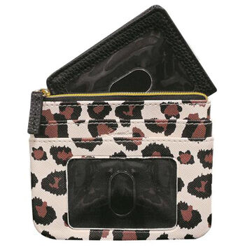 Buxton Womens Leopard - RFID Large Coin Card Case