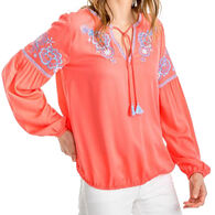 Southern Tide Women's Sienna Embroidered Boho Long-Sleeve Top