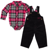 Carhartt Infant/Toddler Girls' Pretty Plaid Overall Set, 2pc