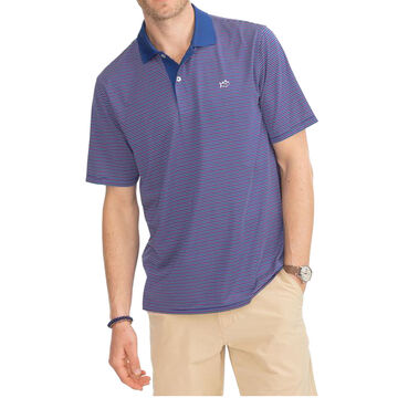 Southern Tide Mens Fireworks Striped Performance Polo Short-Sleeve Shirt