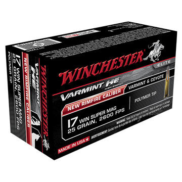 Winchester Varmint HE 17 WSM 25 Grain Polymer Tip Rimfire Ammo (50)