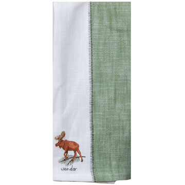 Kay Dee Designs Pinecone Trails Moose Embroidered Two-Tone Tea Towel