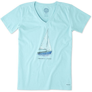 Life is Good Women's Peaceful Sailboat Engraved Crusher Vee Short-Sleeve T-Shirt