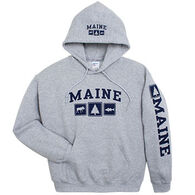 Artforms Men's Triple Maine Moose, Pine and Striper Hooded Sweatshirt