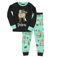 Lazy One Toddler Girl's Pasture Bedtime Horse Pajama Set, 2-Piece