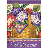 Carson Home Accents Hydrangea Basket Garden Flag