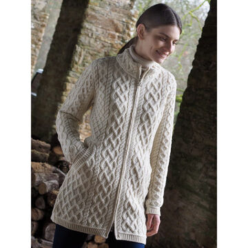 Aran Crafts Womens Long Plated Sweater Coat