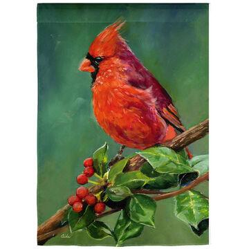 Evergreen Cardinal Satin Garden Flag