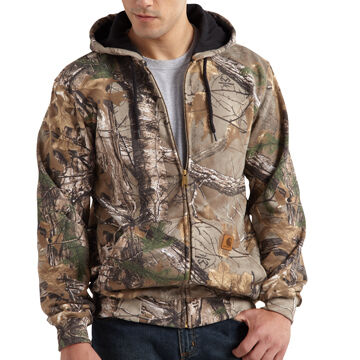 Carhartt Mens Big & Tall Midweight Camo Hooded Zip Front Sweatshirt