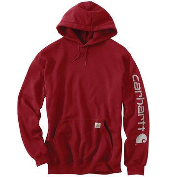 Carhartt Mens Big & Tall Midweight Hooded Logo-Sleeve Sweatshirt