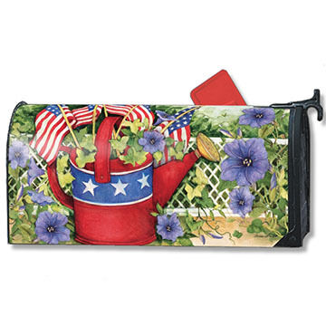 MailWraps Patriotic Watering Can Magnetic Mailbox Cover