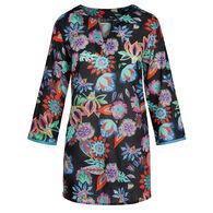 KikiSol Women's Black Flowers Long-Sleeve Tunic Cover Up