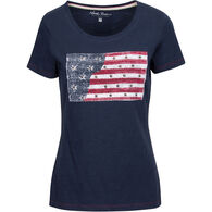 North River Women's Americana Flag Applique & Stud Slub Jersey Crew-Neck Short-Sleeve T-Shirt