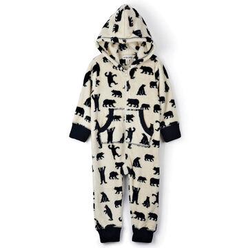 Hatley Toddler Little Blue House Black Bears Hooded Fleece Jumpsuit