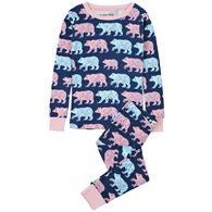 Hatley Girl's Little Blue House Cottage Bears Pajama Set