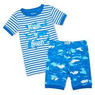 Hatley Boy's Shark Camo Organic Cotton Short-Sleeve Pajama Set