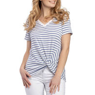 Tribal Women's V-Neck with Knot Short-Sleeve Top