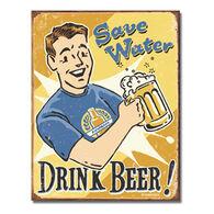 Desperate Enterprises Save Water Tin Sign