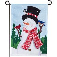 Evergreen Snowman and Bird Friends Burlap Garden Flag