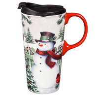 Evergreen Winter Greetings Ceramic Travel Cup w/ Lid