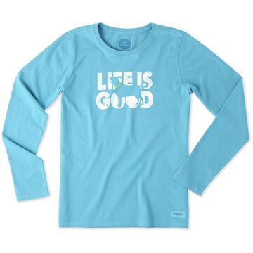 Life is Good Women's Dog Silhouette Long-Sleeve Crusher T-Shirt