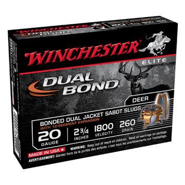 "Winchester Dual Bond 20 GA 2-3/4"" 260 Grain HP Sabot Slug Ammo (5)"