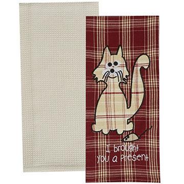 Park Designs Brought You A Present Cat Dish Towel Set