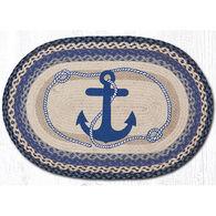Capitol Earth Braided Oval Navy Anchor Rug