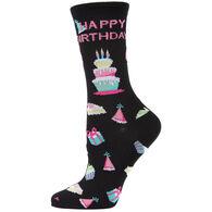 MeMoi Women's Happy Birthday Bamboo Blend Crew Sock