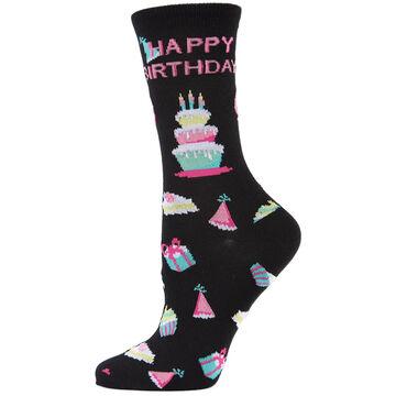 MeMoi Womens Happy Birthday Bamboo Blend Crew Sock