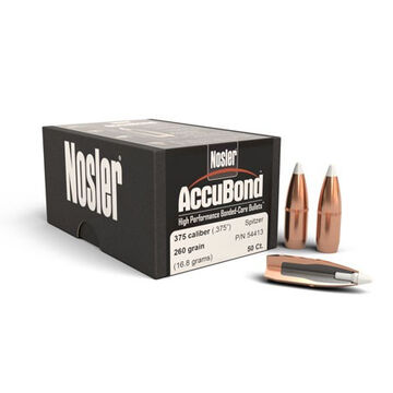 Nosler AccuBond 375 Cal. 260 Grain .375 Spitzer w/ Cannelure Rifle Bullet (50)
