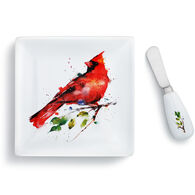 Big Sky Carvers Spring Cardinal Plate & Spreader Set
