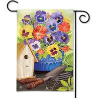 BreezeArt Pansy Birdhouse Garden Flag
