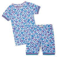 Hatley Girl's Cheetah Hearts Organic Cotton Short Pajama Set