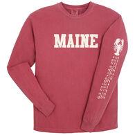 Soft As A Grape Women's Maine Lobster Tracks Sleeve Graphic Long-Sleeve T-Shirt