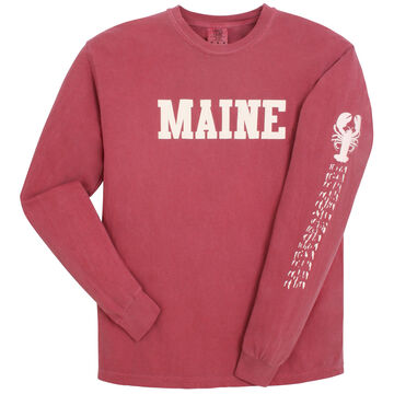 Soft As A Grape Womens Maine Lobster Tracks Sleeve Graphic Long-Sleeve T-Shirt