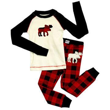 Lazy One Toddler Boys' & Girls' Moose Plaid PJ Set