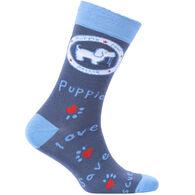Puppie Love Women's Blue Logo Pup Crew Sock