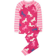 Hatley Girl's Playful Horses Organic Cotton Raglan Pajama Set