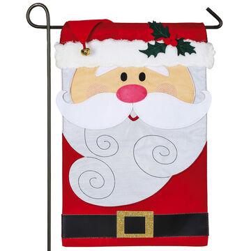Evergreen Santa Claus Applique Garden Flag