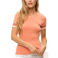 Mystree Women's Color Contrast Edge Short-Sleeve Sweater